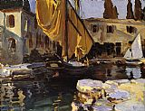 Famous Boat Paintings - Boat with The Golden Sail San Vigilio