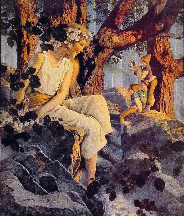 Maxfield Parrish Girl With Elves Painting Framed