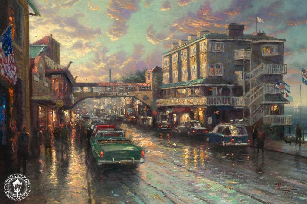 Thomas kinkade cannery row sunset painting framed for Original oil paintings for sale by artist