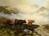 Pass Canvas Paintings - Highland Cattle in a Pass