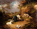 rabbits Wall Art - Two Men Hunting Rabbits With Their Dog, A Village Beyond