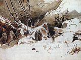 Pass Canvas Paintings - Alpine Pass in Winter with Monks