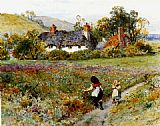 William Stephen Coleman - Children Playing On A Path, Cottages Beyond