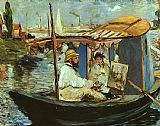 Famous Boat Paintings - Claude Monet working on his boat in Argenteuil