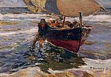 Famous Boat Paintings - Beaching the Boat (study)