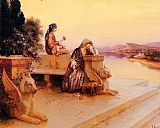 Elegant Canvas Paintings - Elegant Arab Ladies on a Terrace at Sunset